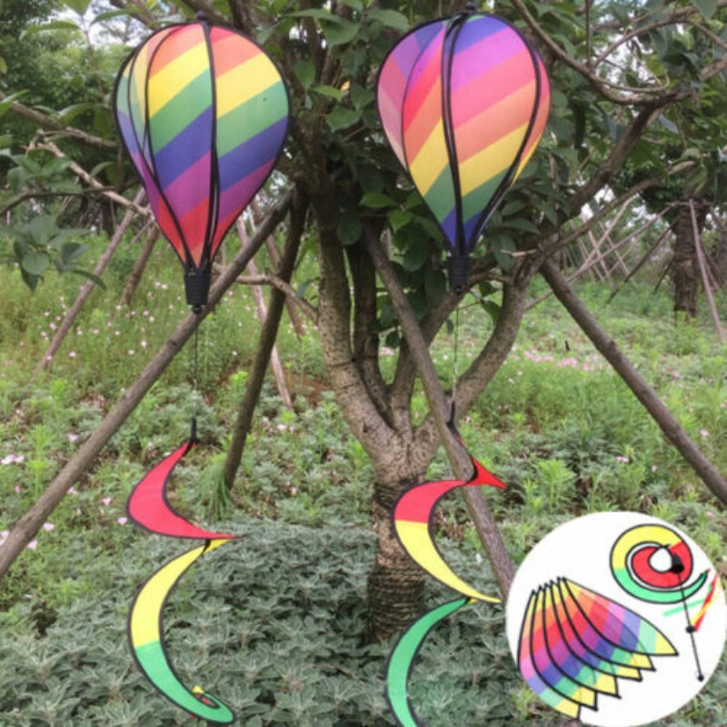 55 Hot Air Balloon Rainbow Wind Spinner Beach Kites Windsock Garden Yard Outdoor Decor Wih Tail In Decorative Stakes Spinners From Home