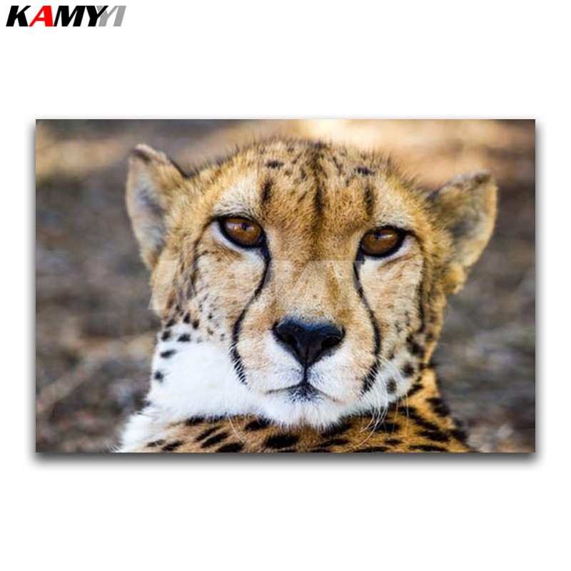 Full Square Diamond embroidery Cross stitch animal cats Full Round Diamond mosaic Cheetah 3D DIY Diamond painting leopard