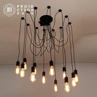 Nordic retro edison lâmpada luz do candelabro sótão vintage antigo ajustável diy e27 arte aranha luminária de teto luz