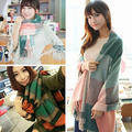 Arrival Women Winter Warm Soft Artificial Wool Scarf Plaid Knit Long  Shawl Pashmina  6YUU