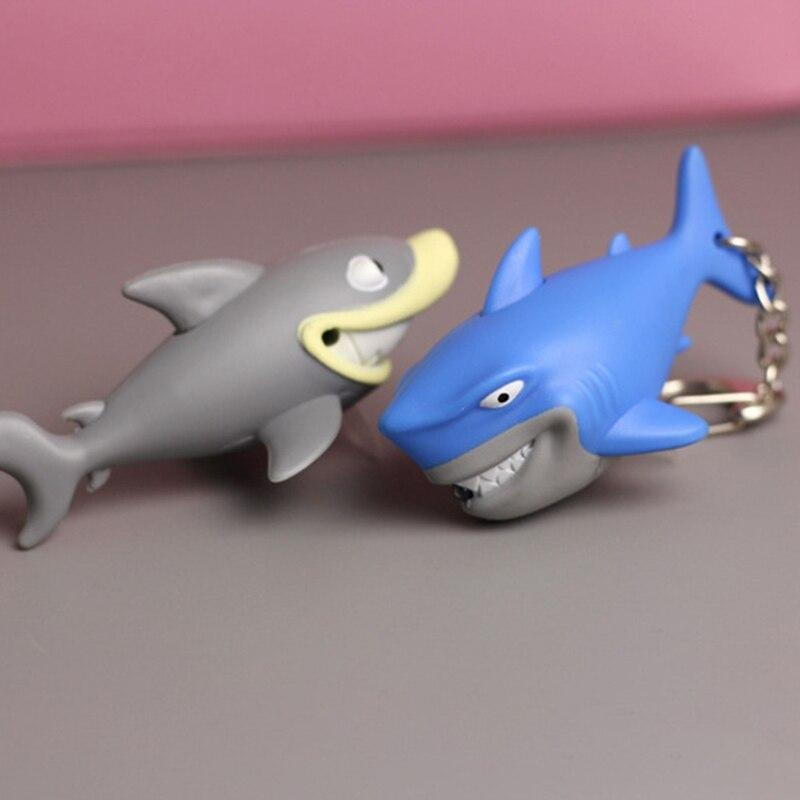 New Mode Style 1 Pcs Newest Shark LED Sound Illuminous Key Chain Keychain Underwater World Exquisite Fashion Gifts
