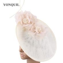 Vintage beige wedding headwear church Big Fascinators party hats women kentucky derby accessories bridal ladies days headpiece