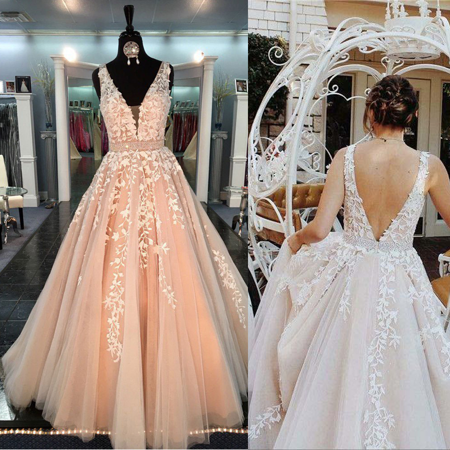 Chic Beautiful Prom Dresses Long A-line V Neck Applique Prom Dress Evening Dresses Beading Sash Peach Formal Dress