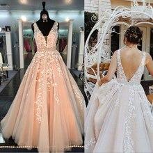שיק יפה שמלות נשף ארוך אונליין V צוואר applique נשף שמלת ערב שמלות ואגלי אבנט אפרסק לבוש הרשמי