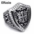 Men's Boy's Silver Warrior Shield Cross 316L Stainless Steel Shield Ring Wholesale Jewelry Us Size 7-13