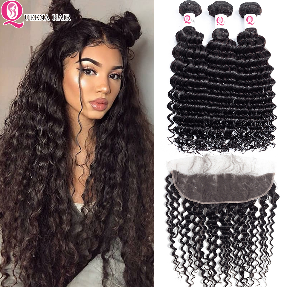 TOP Cheap Malaysian Deep Wave Curly Hair Weave Bundles With Frontal Closure Remy Human Hair Preplucked Lace Frontal With Bundles