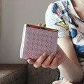 Moda Cuero de LA PU Para Mujer Carteras Y Monederos Monedero Del Embrague Corto Tejer Pequeños Monederos