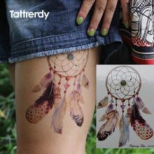 Waterproof Temporary Tattoos Sticker Lace Mandala Dreamcatcher Dream Catcher Big Tattoo Water Transfer Fake Flash Tattoo Leg Arm