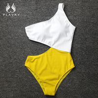 Sexy White Yellow High Waist Cut Out Trikini Ribbed Bathing Suit Monokini Asymmetric Shoulder Swimwear Women