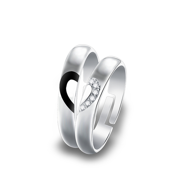 7f31672ac3 Real 925 Sterling Silver Rings CZ Zircon Heart Rings Matching Couple  Promise Rings Matching Set Wedding