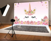 Laeacco Unicorn Party Flower Birthday Baby Newborn Photography Backgrounds Customized Photographic Backdrops For Photo Studio 1