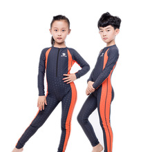 Fanceey Sharkskin Professional One Piece Swimsuit Kids Wetsuit Boys Girls Competitive Swimwear Children Long Sleeve Diving Suit