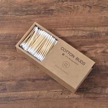 Пластиковый- 200 шт./кор. двойной головкой из бамбуковых волокон, бутоны взрослых Макияж ватным тампоном деревянные палочки для носа Чистка ушей, средство для ухода за полостью