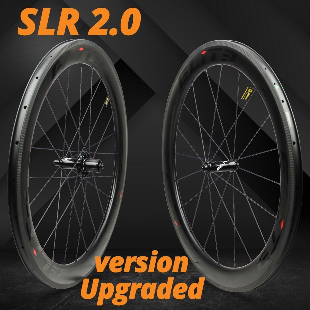 Elite SLR Estrada De Carbono Roda Da Bicicleta 700c Aro Tubular Clincher Tubeless Com Taiwan Hub Puxar Em Linha Reta de Baixa Resistência de Cerâmica