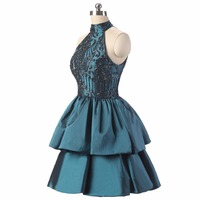 2018 Backlackgirl New Vintage Homecoming Dresses Ball Tiered Taffeta Beading Crystal Mini Plus Size Custom Made Graduation Gown