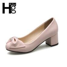 Hee Grand/Винтажные женские туфли-лодочки Модные туфли с квадратным носком среднем толстый каблук Пряжка Закрытая обувь для работы женские WXG426