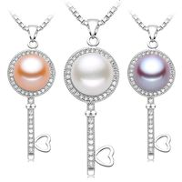 HOT 2015 Key Pendant 925 Sterling Silver And Natural Top Quality Freshwater Cultured Pearls Choose White