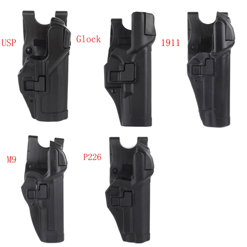 Tactical Level 3 Lock Right Hand Waist Belt Pistol Holster for M9/Glock/Colt 1911/M&P 9mm/ P226 series gun model ...