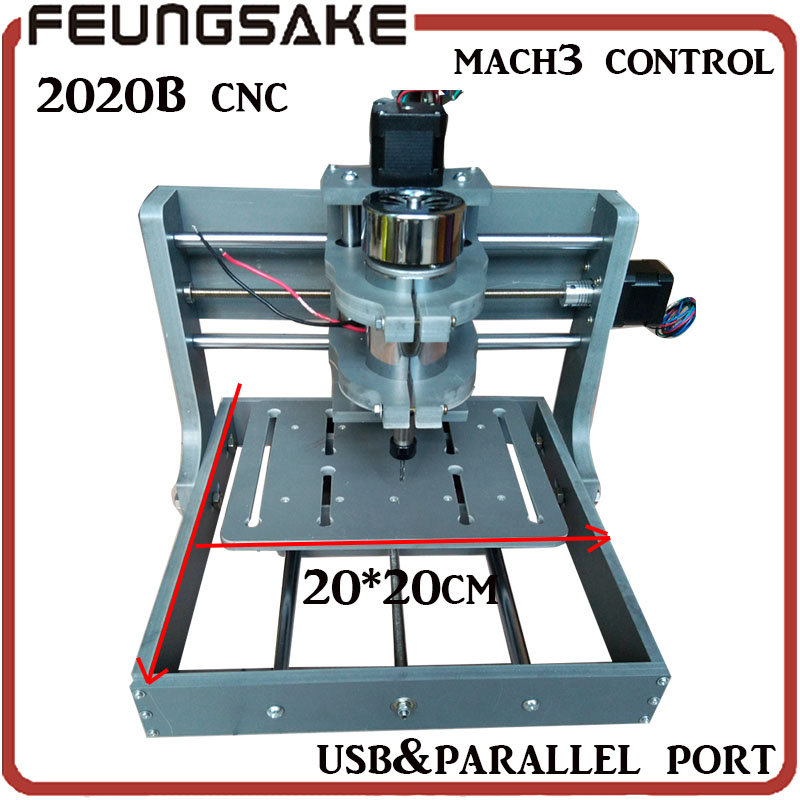 ship DHL PCB Milling Machine 20*20*30cm 2020B DIY CNC Wood Carving Mini Engraving Machine PVC Mill Engraver Support MACH3 System 1pcs diy cnc wood carving mini engraving machine pvc mill engraver support mach3 system pcb milling machine cnc 2020b