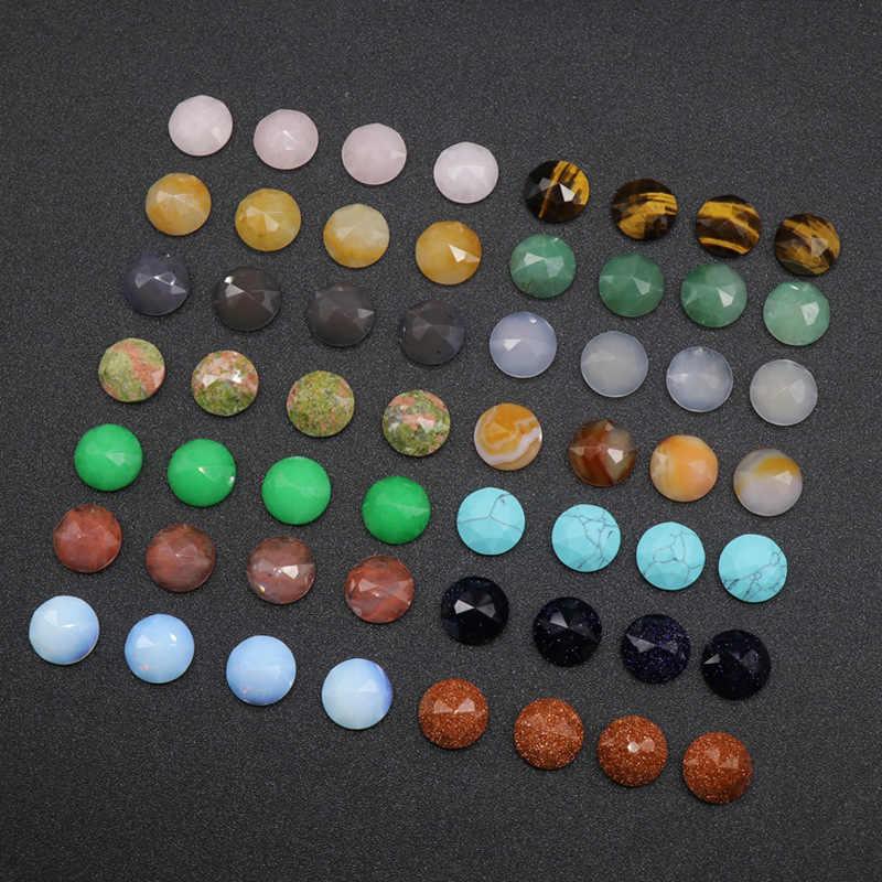 16 มม. แบนเรขาคณิตไม่มีลูกปัด Carnelian ธรรมชาติโอปอล Agates ควอตซ์ Turquoises Cabochon เครื่องประดับอุปกรณ์เสริม DIY ลูกปัด