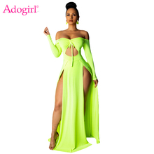 Adogirl Solid Hollow Out High Slit Maxi Evening Party Dress Women Sexy Drawstring Off Shoulder Full Sleeve Long Club Dresses