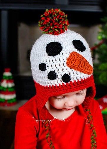 Livraison gratuite, NOUVEAU crochet Fait Main Bonhomme De Neige bébé  chapeau Photographie photo props. 9f6ef1fe3941