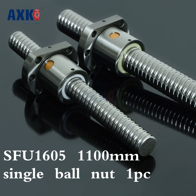 Axk 16mm 1605 Ball Screw Rolled C7 Ballscrew Sfu1605 1100mm With One 1605 Flange Single Ball Nut For Cnc Parts 16mm 1605 ball screw rolled c7 ballscrew sfu1605 300mm with one 1605 flange single ball nut for cnc parts