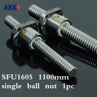 Axk 16mm 1605 Ball Screw Rolled C7 Ballscrew Sfu1605 1100mm With One 1605 Flange Single Ball Nut For Cnc Parts