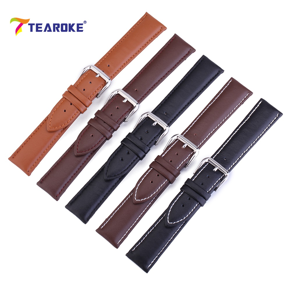 Leather Watchband Strap 12 / 14 / 16 / 18 / 19 / 20 / 22 / 24 mm Stainless Steel Buckle Men Women Replace Band Watch Accessories