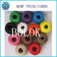 12 цветов 100% конопли шнур (13 шт./лот) 100 м/ball, витые шнуры, конопля шпагат шнур используется во всех видах упаковки Бесплатная доставка