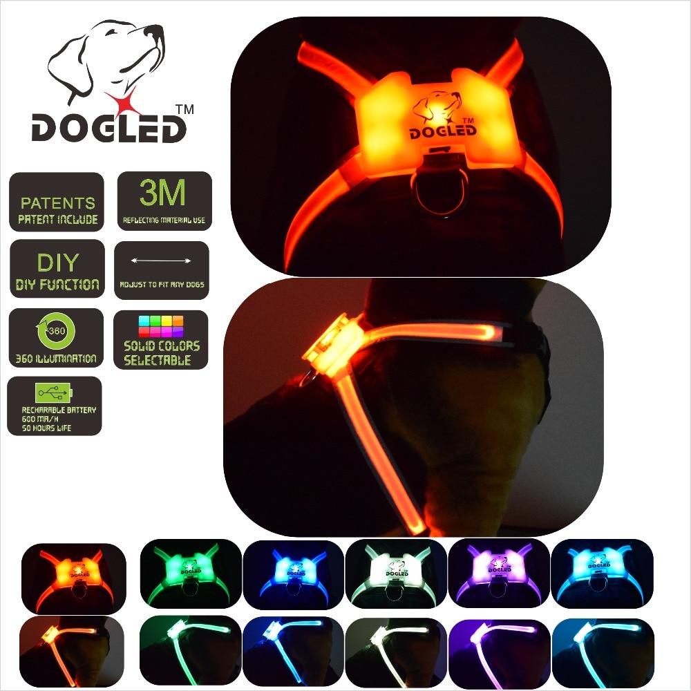 Led harnais pour chien multicolore 7 dans 1 USB recharable multi fonction harnais pour chien rainroof bricolage dogharness grand led collier