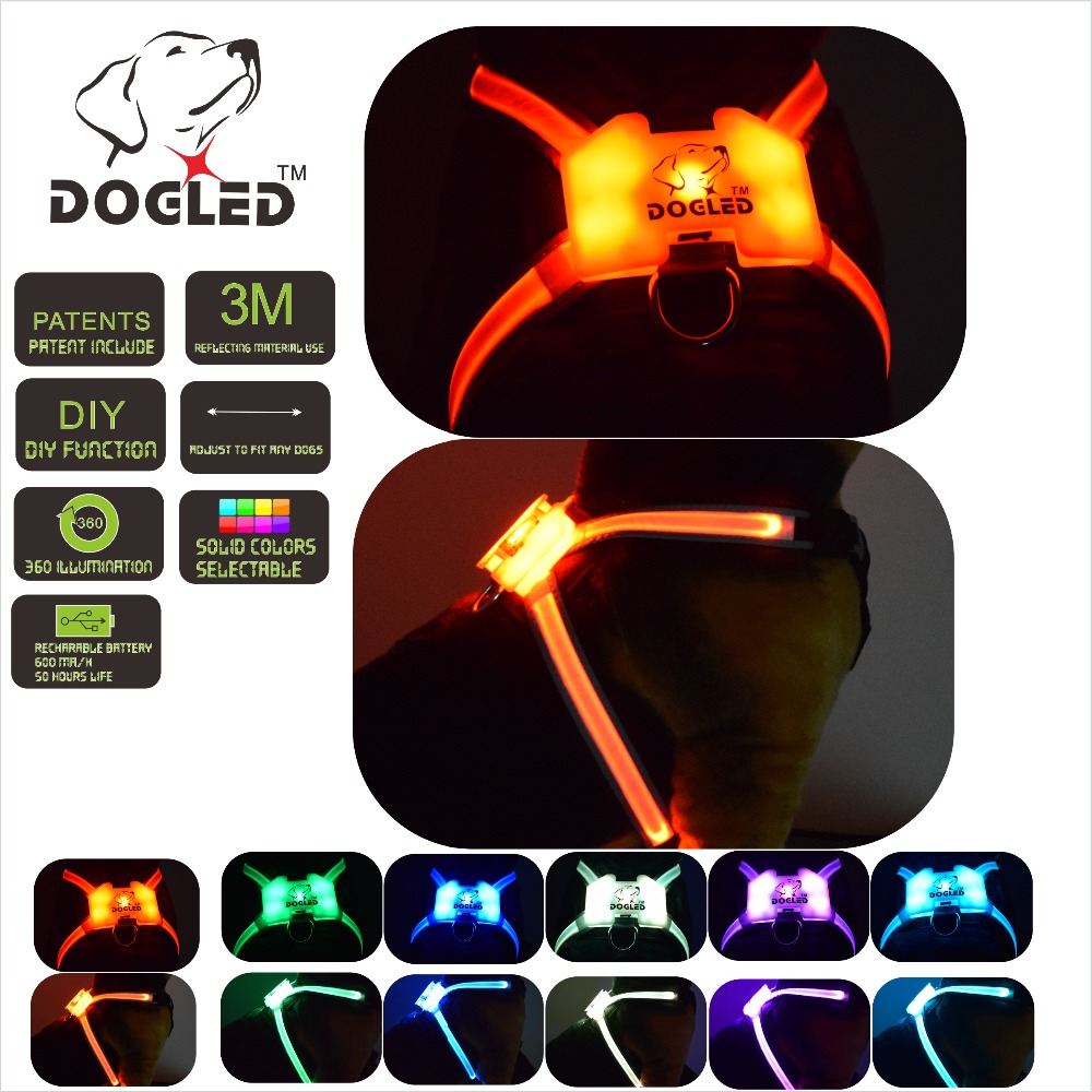 led dog harness multicolor 7 in 1  USB recharable multi function dog harness  rainroof DIY dogharness large led collarled dog harness multicolor 7 in 1  USB recharable multi function dog harness  rainroof DIY dogharness large led collar