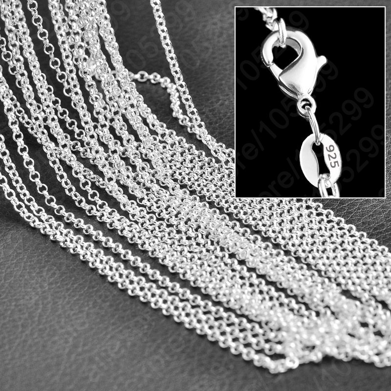 Hot Wholesale Fine 925 Sterling Silver Necklace Chains With Lobster Clasps Set Fashion Cross Stylish Unisex Chains Jewelry