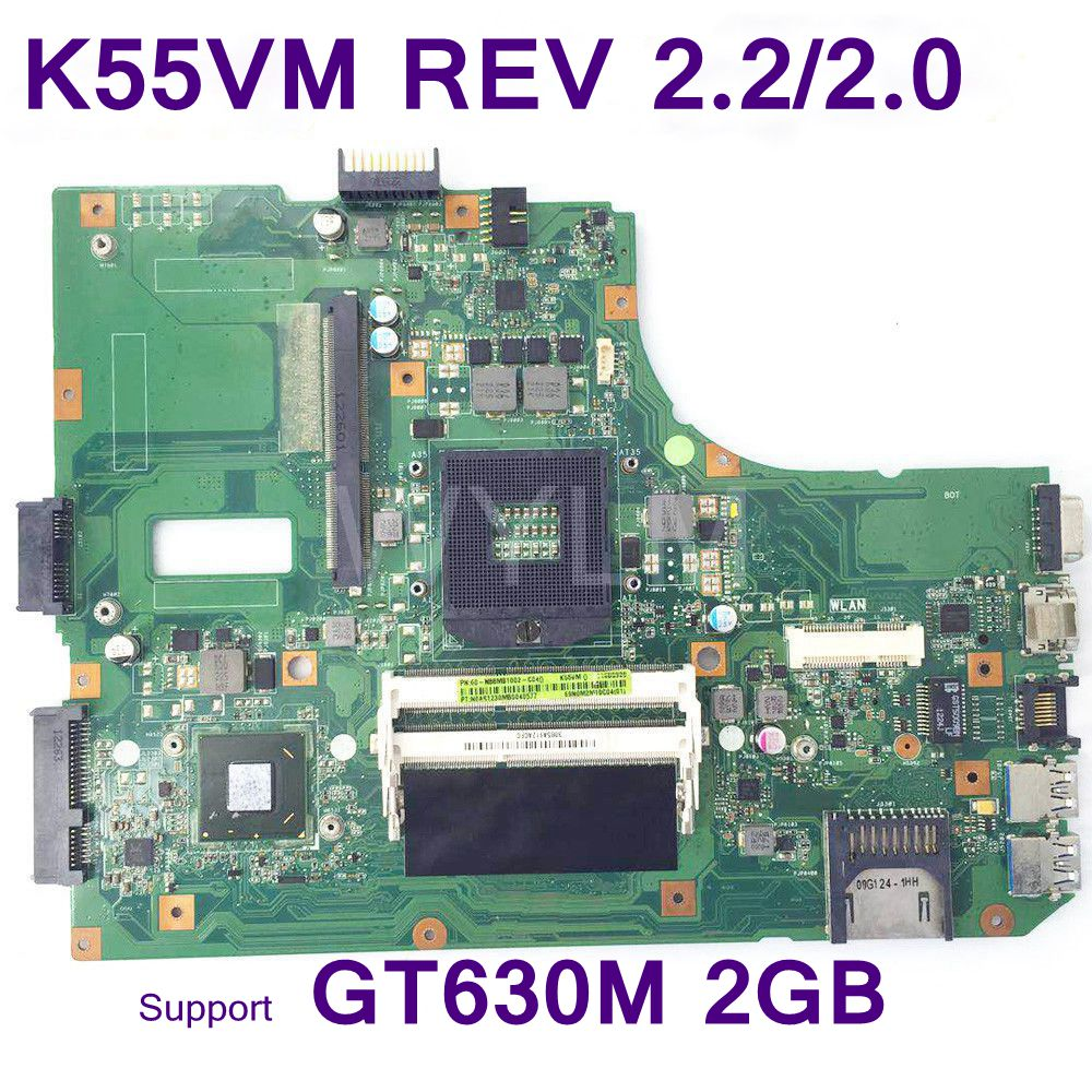 K55VM laptop motherboard For ASUS A55V K55V K55VM K55VJ Mainboard REV2.2/2.0 Support Geforce GT630 2G 100% tested Free Shipping все цены