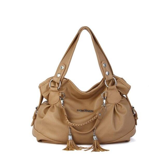 New 2017 High Quality Tote Tassel Bag Women PU Leather Handbags Fashion Ladies Elegant Crossbody Shoulder Bags bolsa an229