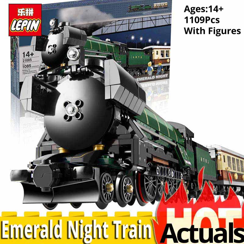 LEPIN Technic Series 21005 Emerald Night Train Model 1109Pcs Building Blocks Bricks Toy Compatible With legoly Educational 10194