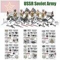 Mini figuras de ww2 ejército soviético ruso ejército nacional la batalla de moscú anti fascistas d164 compatible con lego bloques de construcción