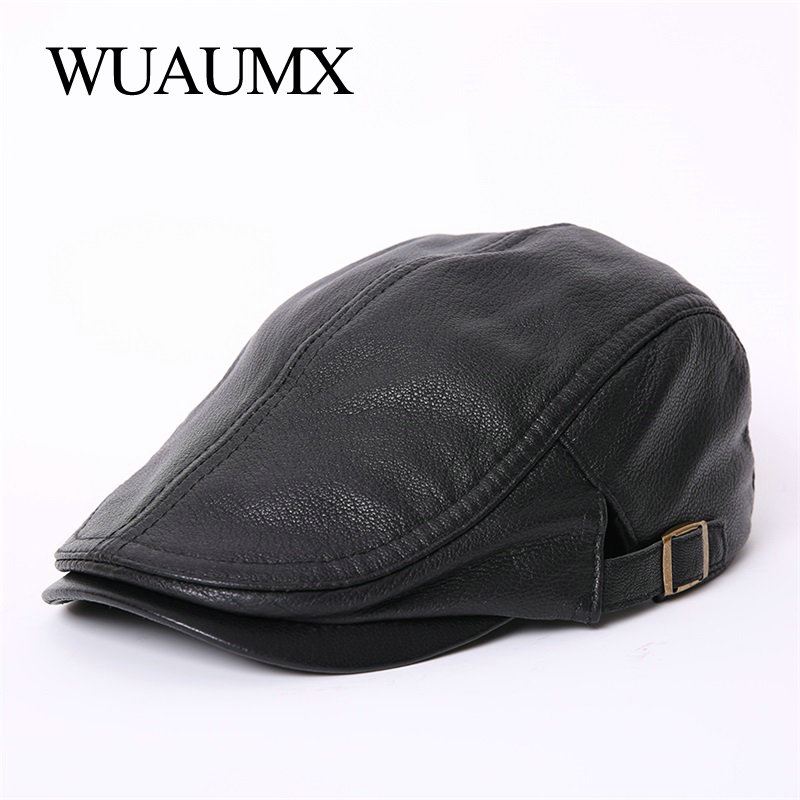 Wuaumx NEW High Quality Sheepskin Leather Berets Hats For Men Peaked Cap Spring Autumn Genuine Leather Duckbill Hat For Male