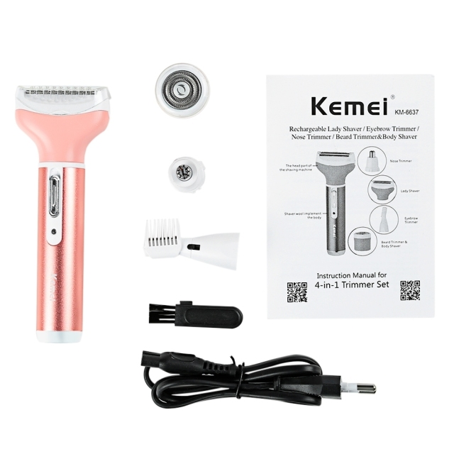 Kemei 4 in 1 Women Epilator Electric Female Rechargeable Bikini Trimmer Body Portable Facial Hair Removal Shaver Set