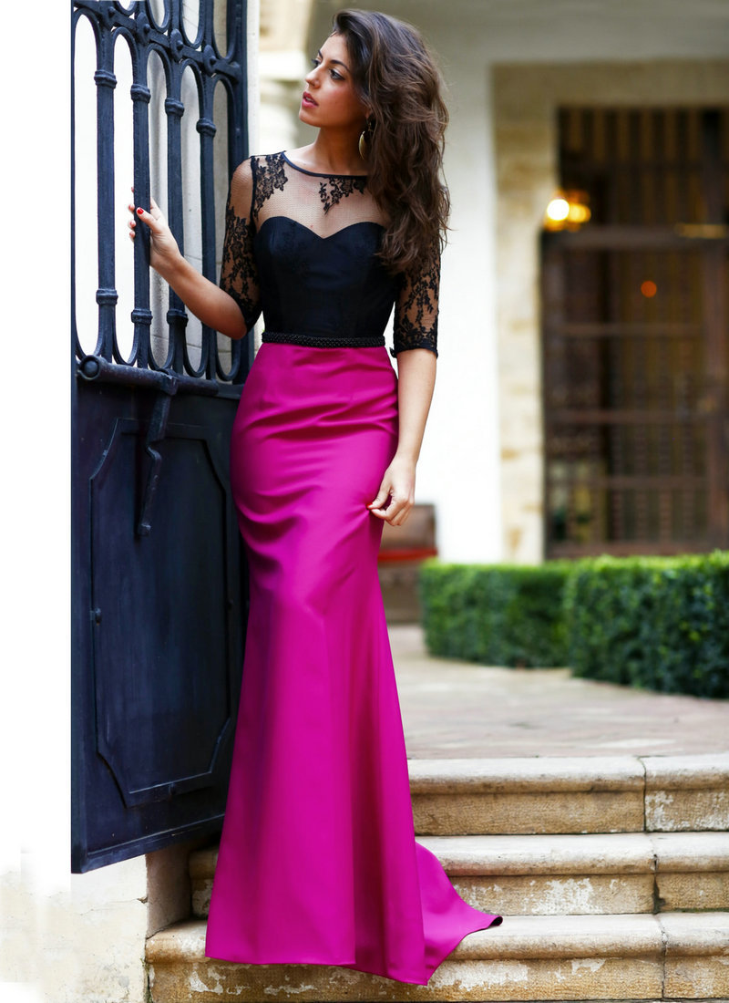 Vestido De Festa 2018 Sexy Scoop Neck Long Sheath Satin Women With Sleeves Long Evening Gowns Mother Of The Bride Dresses