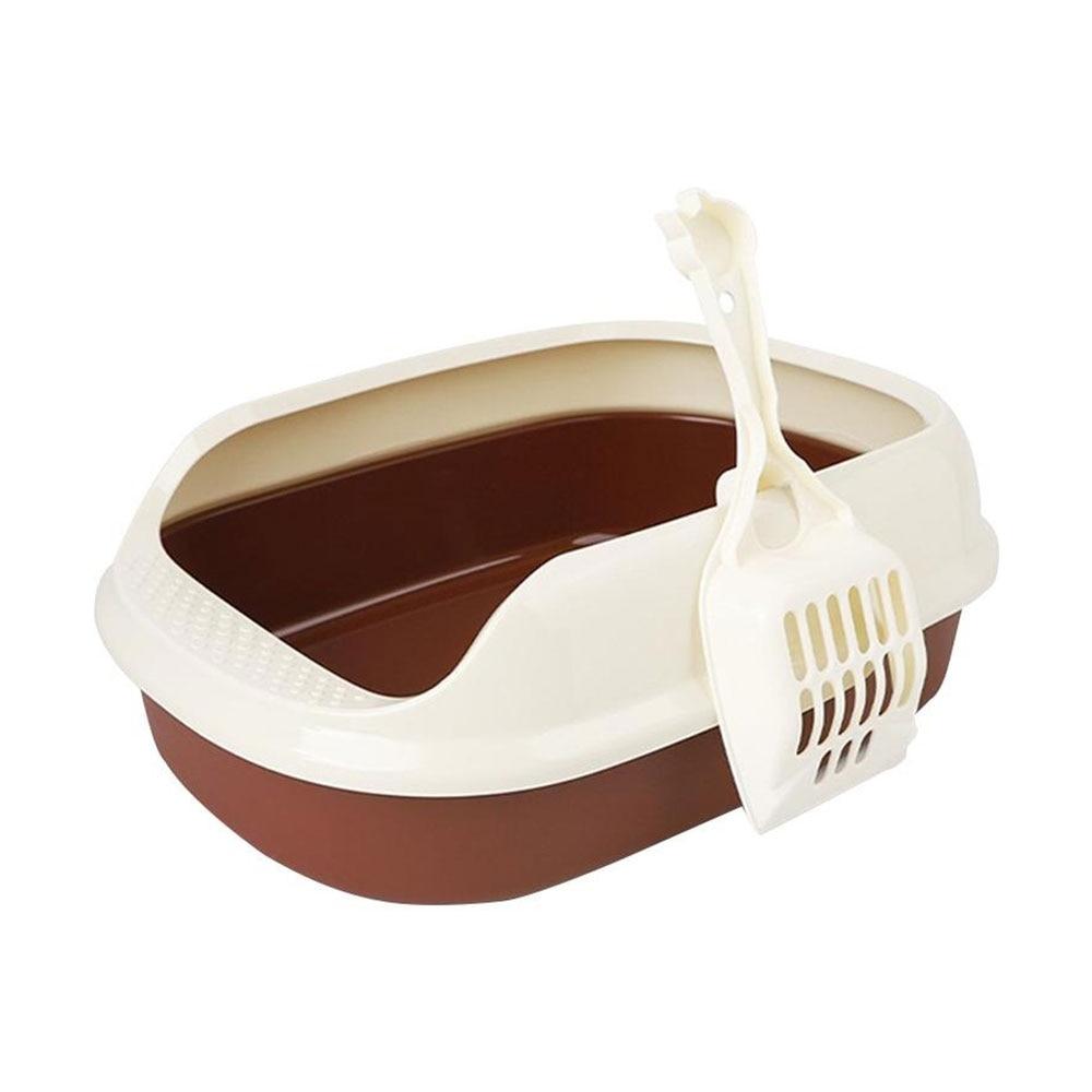 Ящик для мусора кошачий Туалет кошачий ящик для мусора Домашние животные Туалет портативный пластиковый прочный анти-всплеск полузакрытый лоток для песка товары для кошек