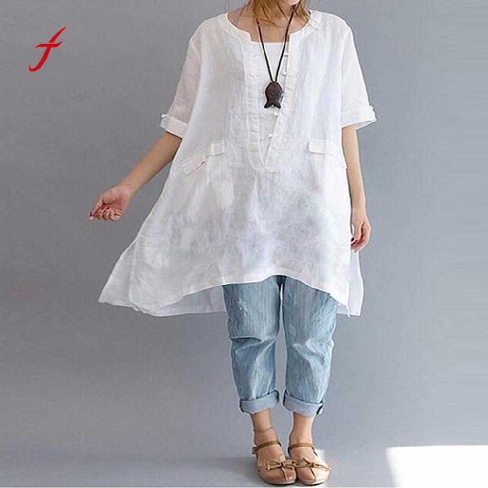 Feitong Women Plus Size Cotton Linen Irregular Fashion Loose Linen Short Sleeved Shirt Vintage Blouse