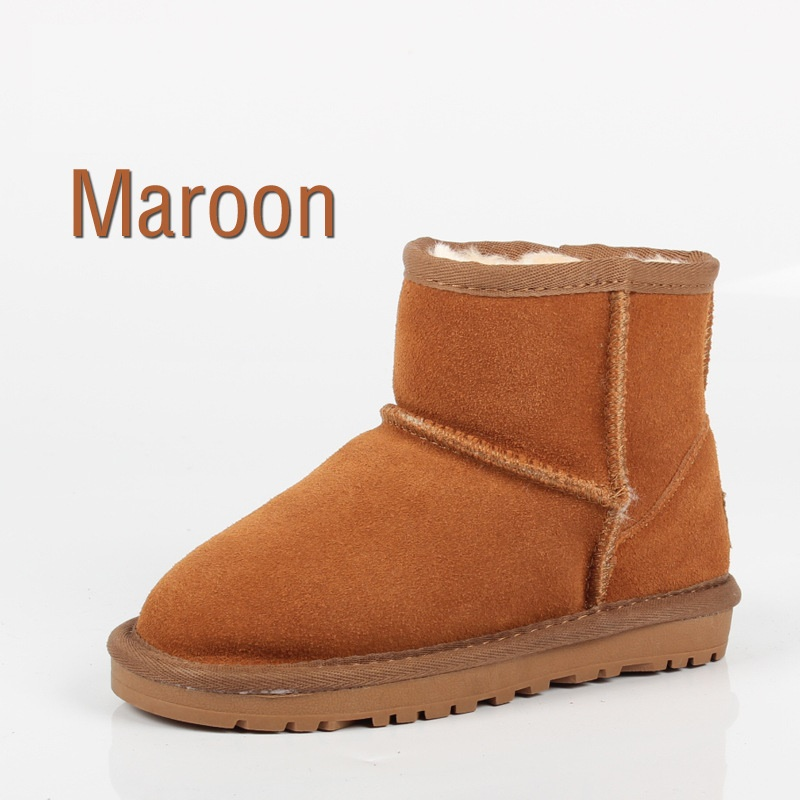 2017 Winter Children Ankle Snow Boots For Girls Boys UG Boots Genuine Leather Shoes Kids New Plush Boots With Fur Warm Boots babyfeet 2017 winter fashion warm plush high top genuine cow leather children ankle girls snow boots kids boys shoes sneakers