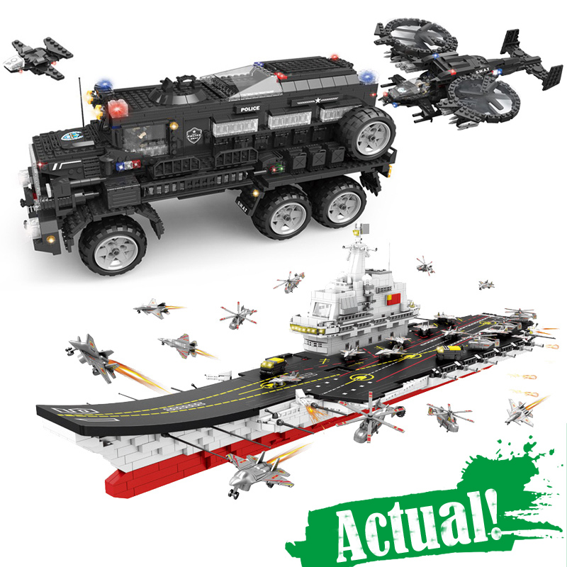 Military SWAT Riot Armored Vehicle Fighter Carrier Figures Building Blocks Bricks Educational legoingly Toys For Children Boys