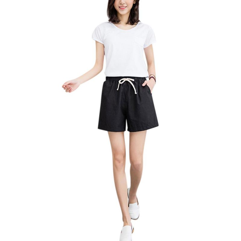 Women Shorts Femme   Summer Style  Loose Linen Casual Thin Mid Casual Elastic Waist Shorts Women's Plus Size S-2XL