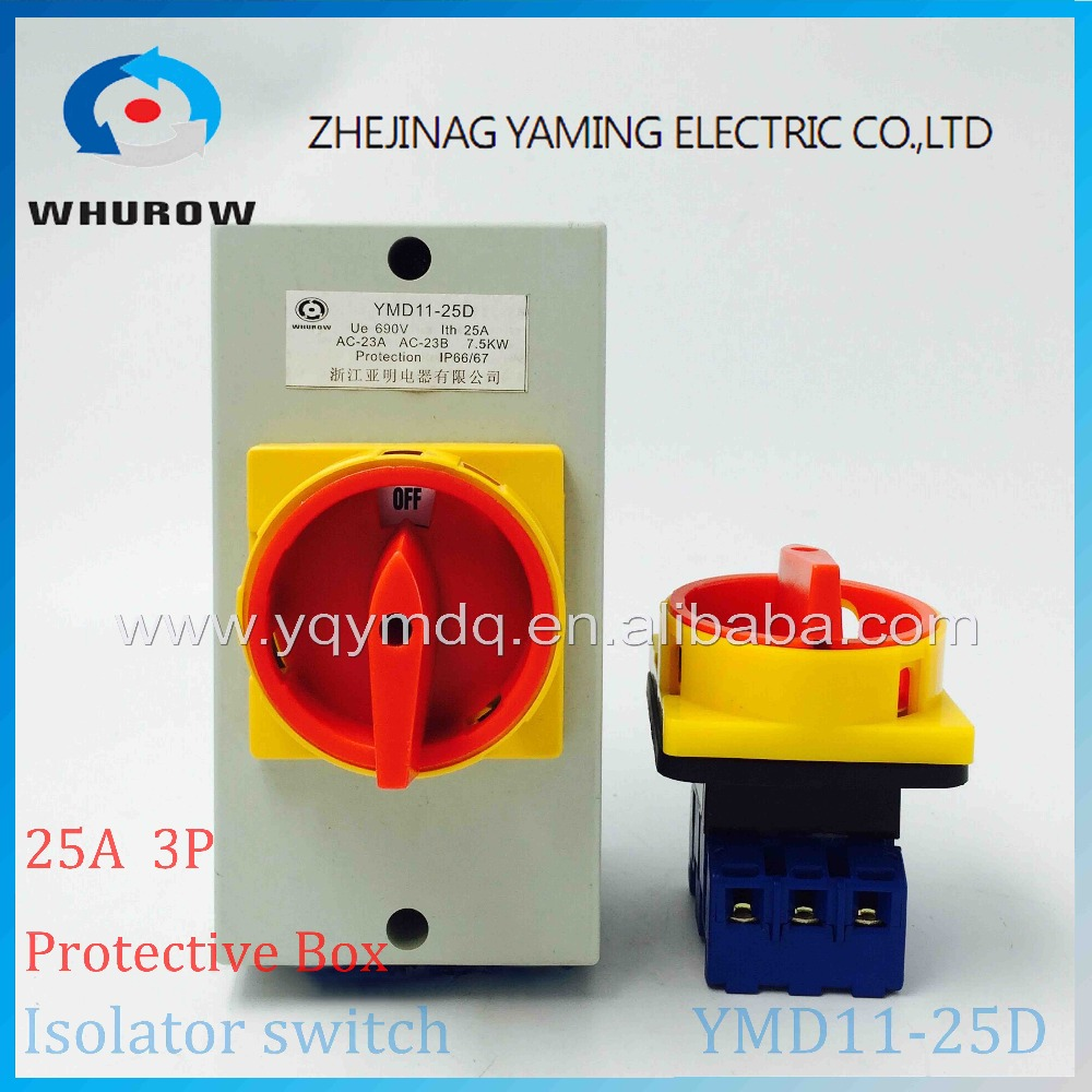 Isolator switch with protective box cover waterproof YMD11-25D 3P rotary changeover switch on-off power cutoff with padlock 660v ui 10a ith 8 terminals rotary cam universal changeover combination switch