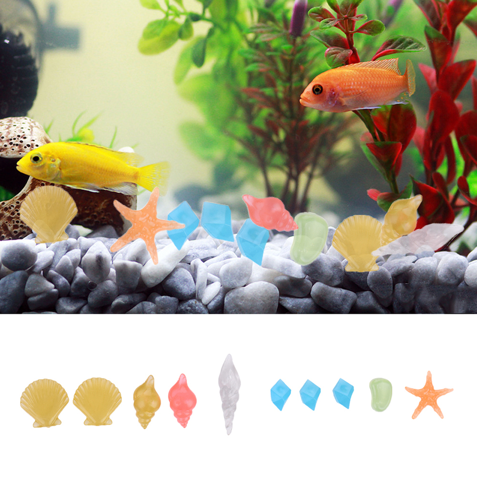 Aquarium fish tank cyprus - Hot Sale 10pcs Lot Luminous Artificial Pebble Stone Aquarium Fish Tank Decorations Light Emitting