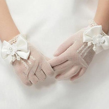 Fashion Mesh Bow Dress Girl White Gloves Flower Thin Section Princess