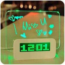 MOSEKO Upgrade Alarm Clocks LED Fluorescent Message Board Digital Alarm Clock Calendar Night Light Green/Blue/Red Desk Clock