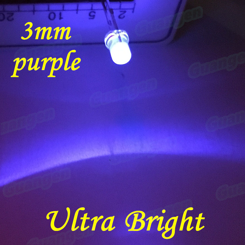 100pcs Purple <font><b>LED</b></font> 3mm Ultra Bright Light Water Clear 3 mm Ultra Voilet 395nm - <font><b>400nm</b></font> Light-Emitting Diode Lamp DIP Components F3 image